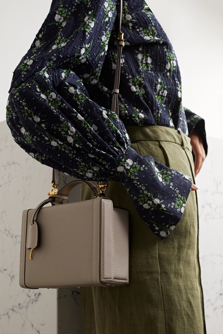 Mark Cross Grace kleine Schultertasche aus strukturiertem Leder