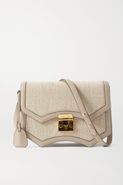 Mark Cross Madeline linen and leather shoulder bag