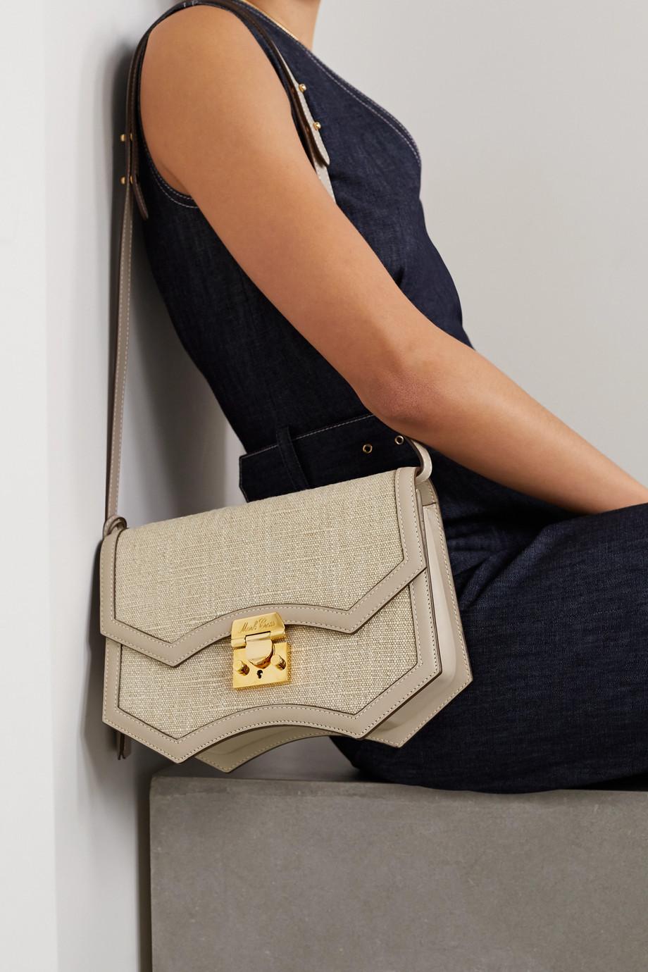Mark Cross Madeline linen and leather shoulder bag