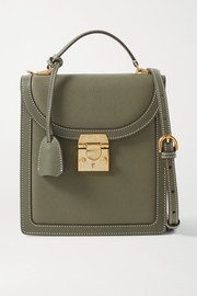 Mark Cross Uptown smooth and textured-leather shoulder bag