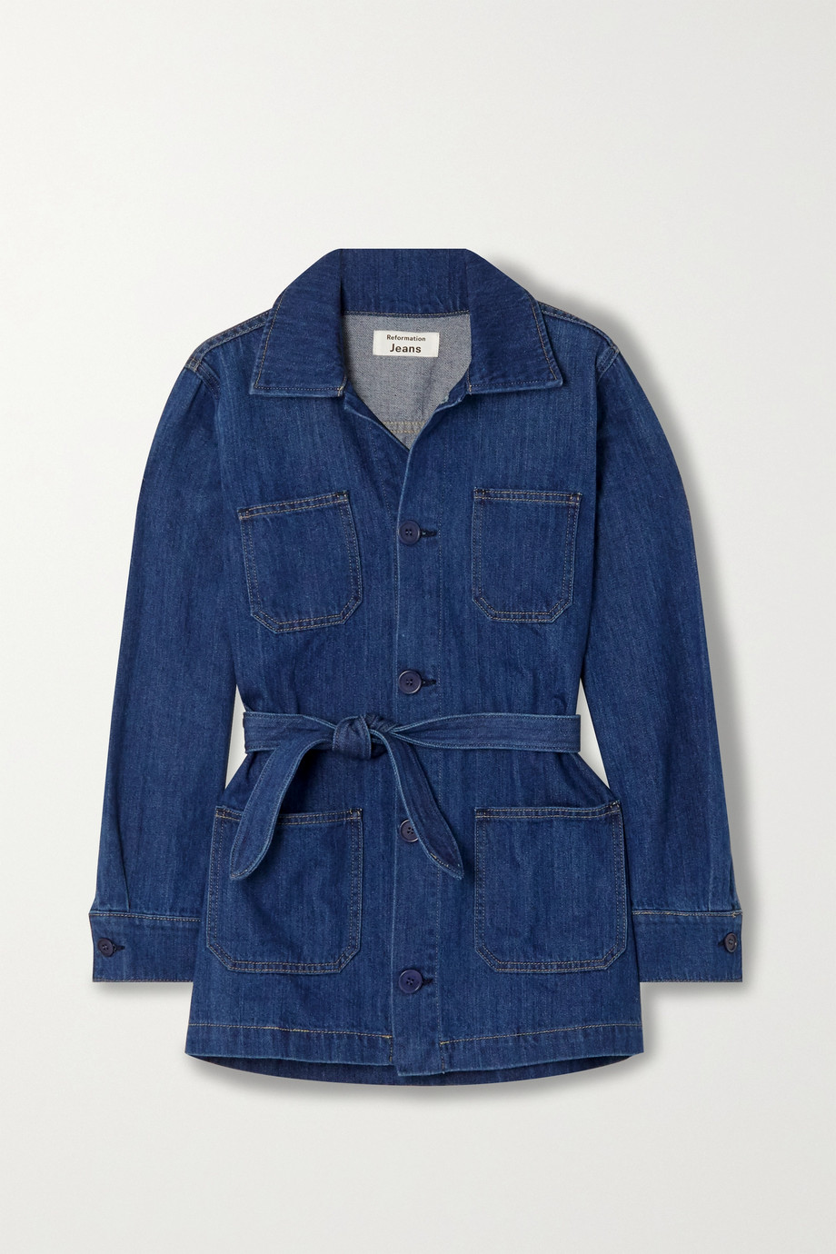 Reformation Dylan belted organic denim jacket