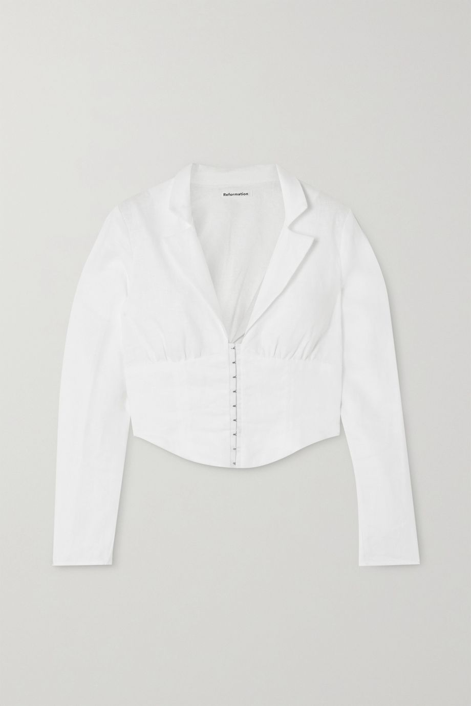 Reformation + NET SUSTAIN Vance cropped linen blouse