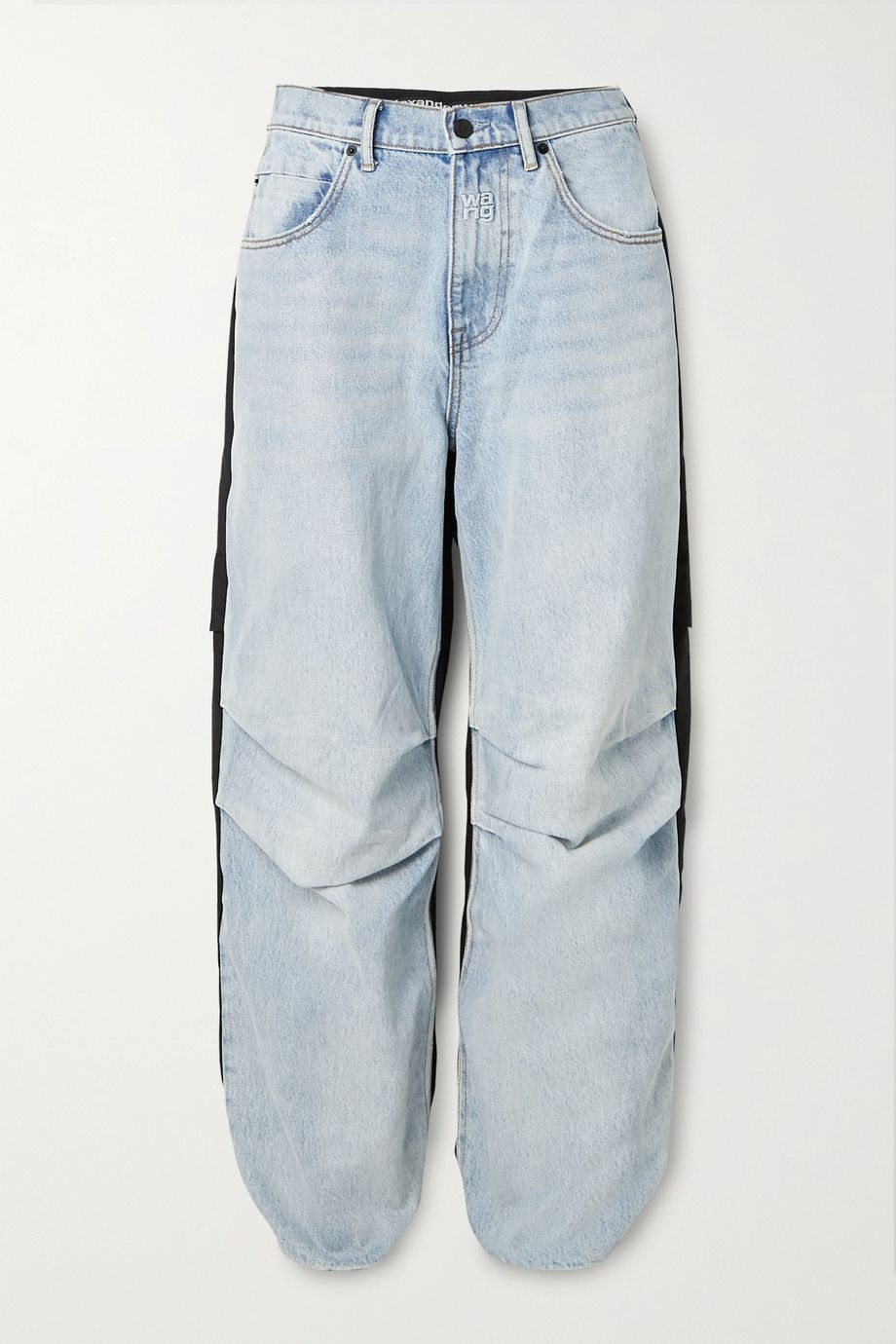 Alexander Wang Pack Mix paneled denim and shell cargo pants