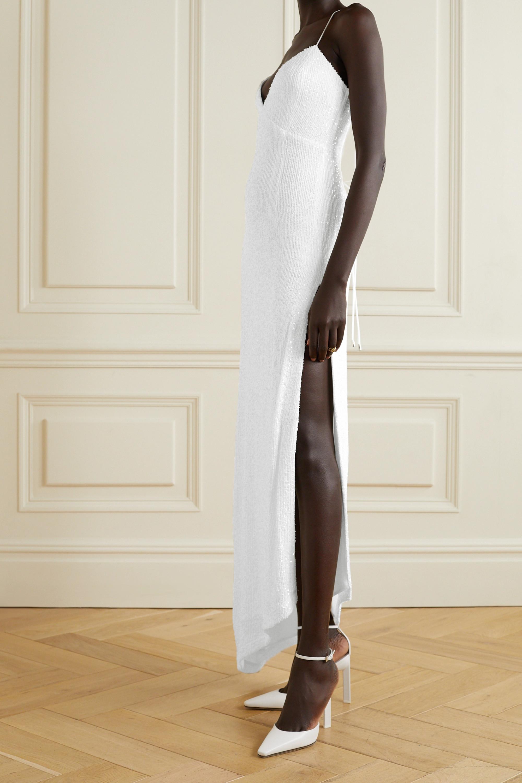 Retrofête Violet asymmetrische Robe aus Stretch-Tüll mit Pailletten und Schnürung