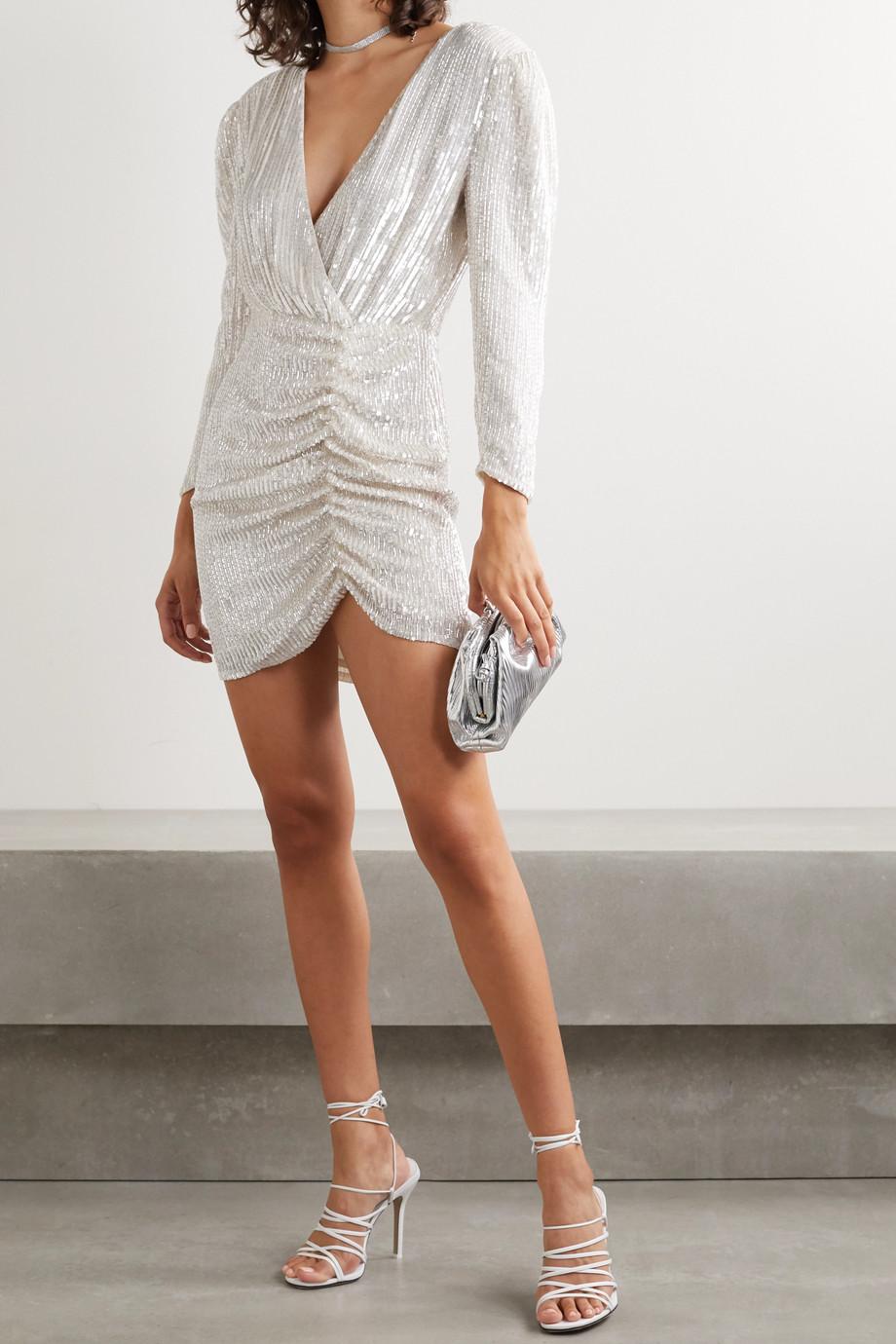 Retrofête Stacey gerafftes Minikleid aus Chiffon mit Verzierungen