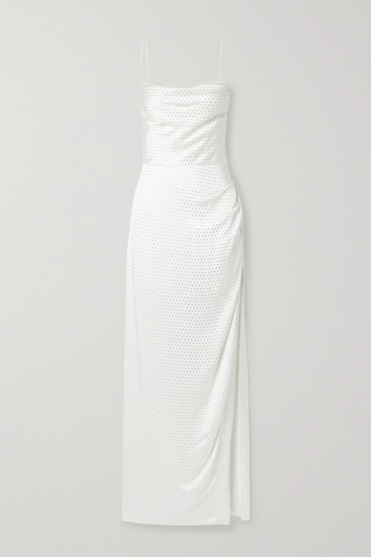 Retrofête Marlene crystal-embellished draped silk-satin maxi dress
