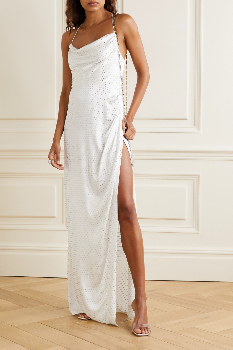 Retrofête Marlene crystal-embellished draped silk-satin maxi dress