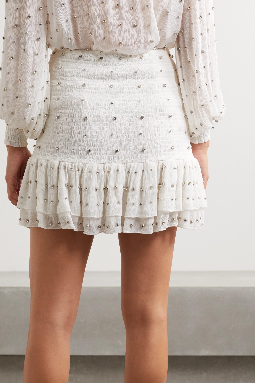 Retrofête Lucille crystal-embellished shirred silk-crepon mini skirt