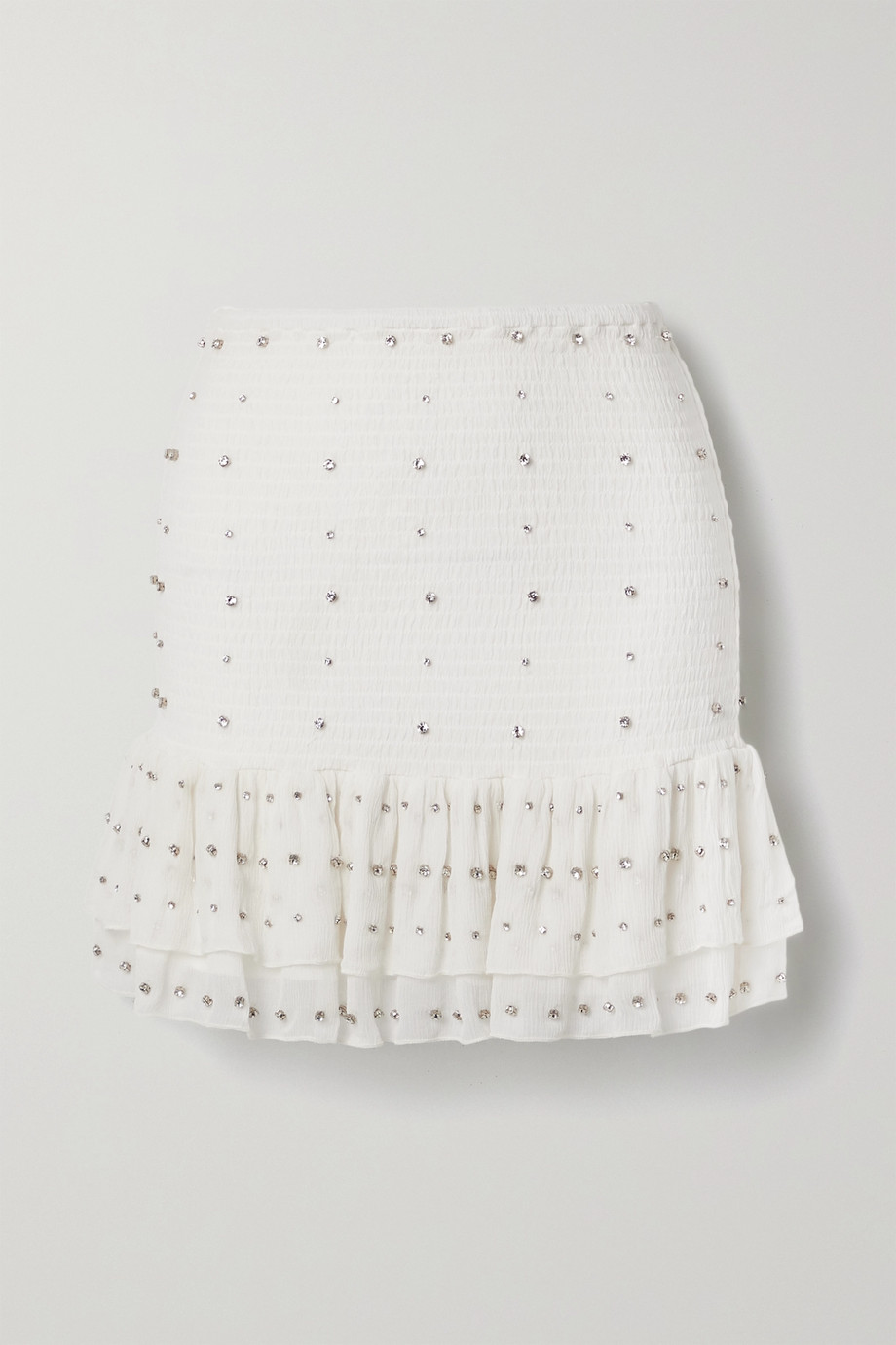 Retrofête Lucille crystal-embellished shirred silk-crepon mini skirt