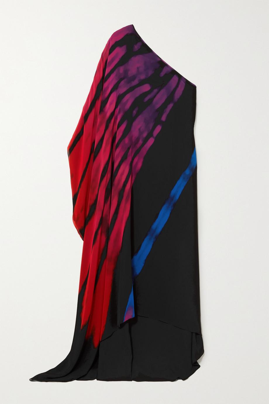 Halpern Kaftan aus Chiffon mit asymmetrischer Schulterpartie und Print
