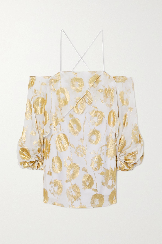 Halpern Cold-shoulder metallic floral-print cotton-voile mini dress