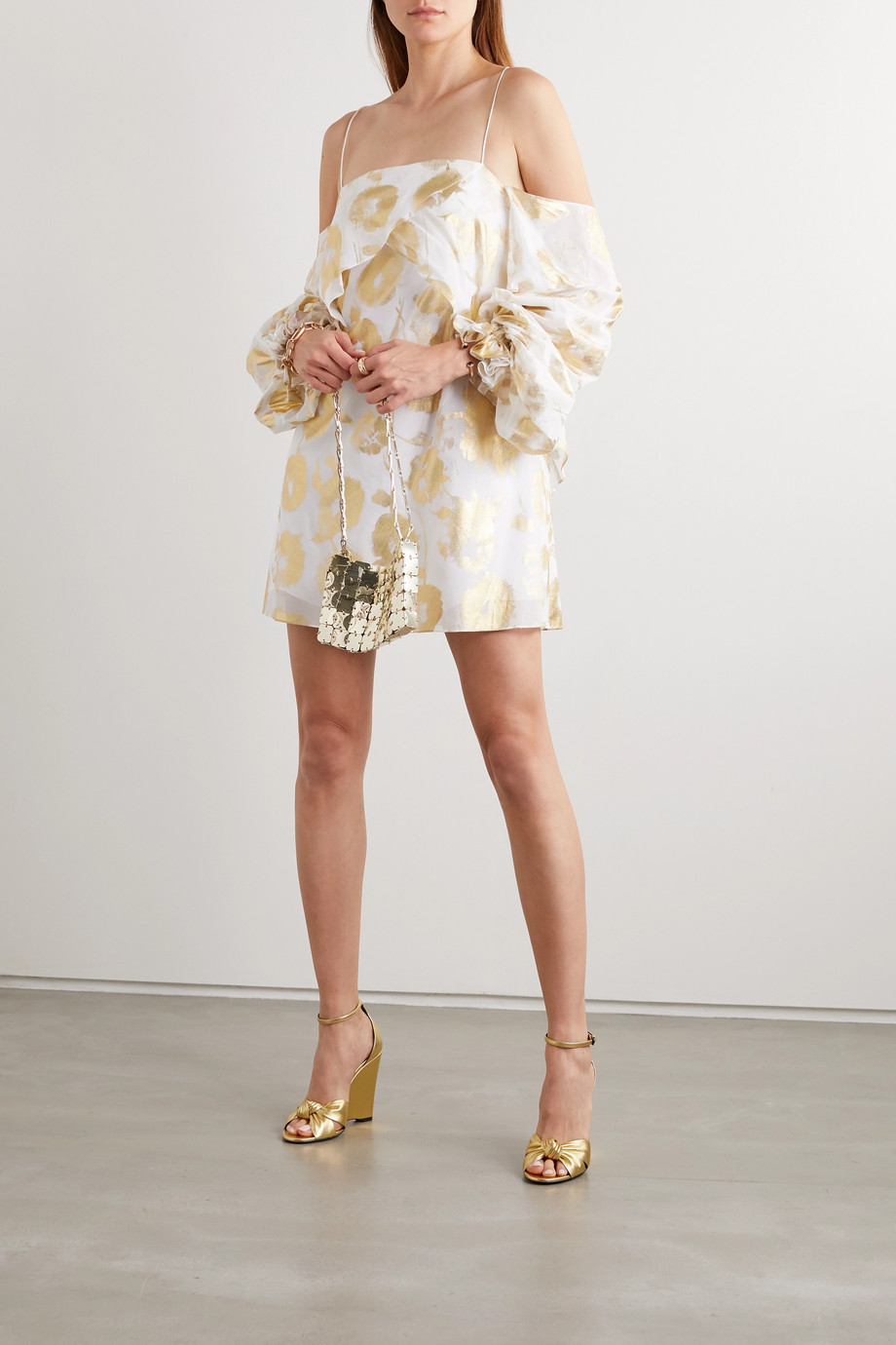 Halpern Cold-shoulder metallic floral-print cotton-voile mini dress