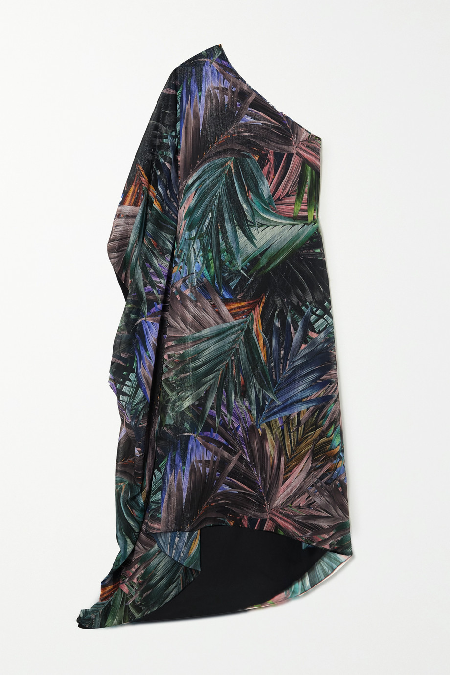 Halpern One-sleeve metallic printed chiffon kaftan