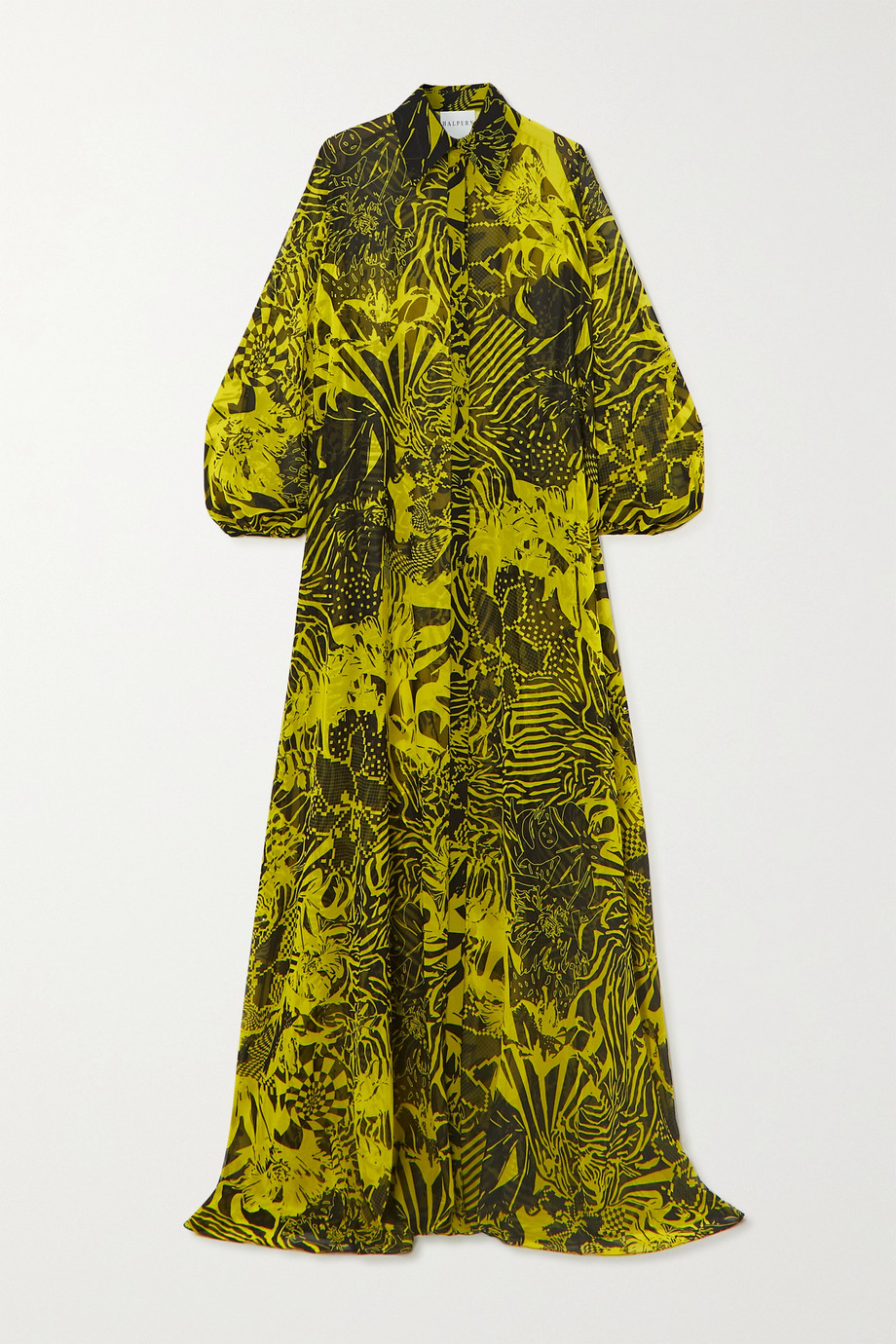 Halpern Printed chiffon maxi shirt dress