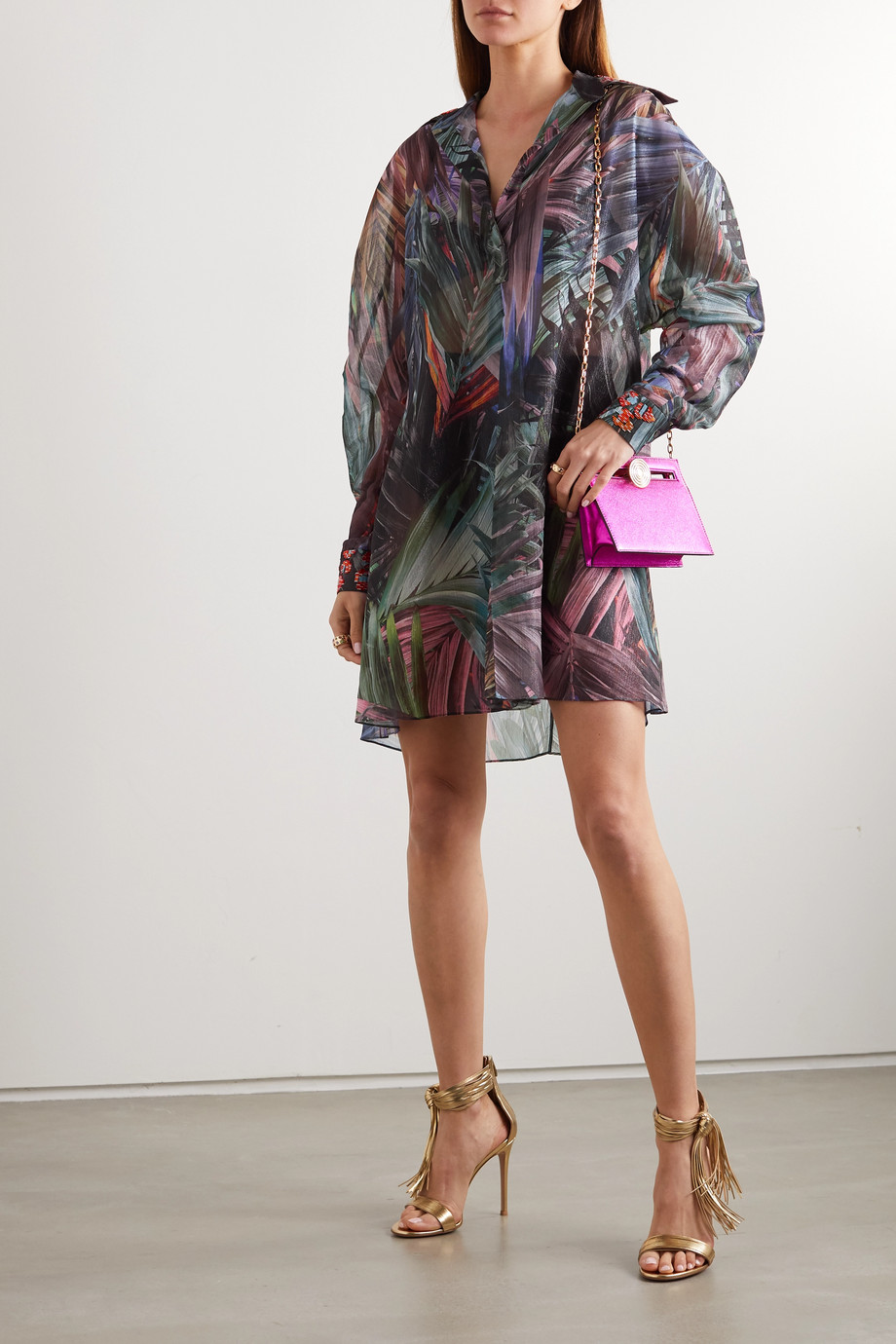 Halpern Embellished metallic printed chiffon mini shirt dress
