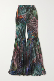 Halpern Pleated metallic printed chiffon flared pants