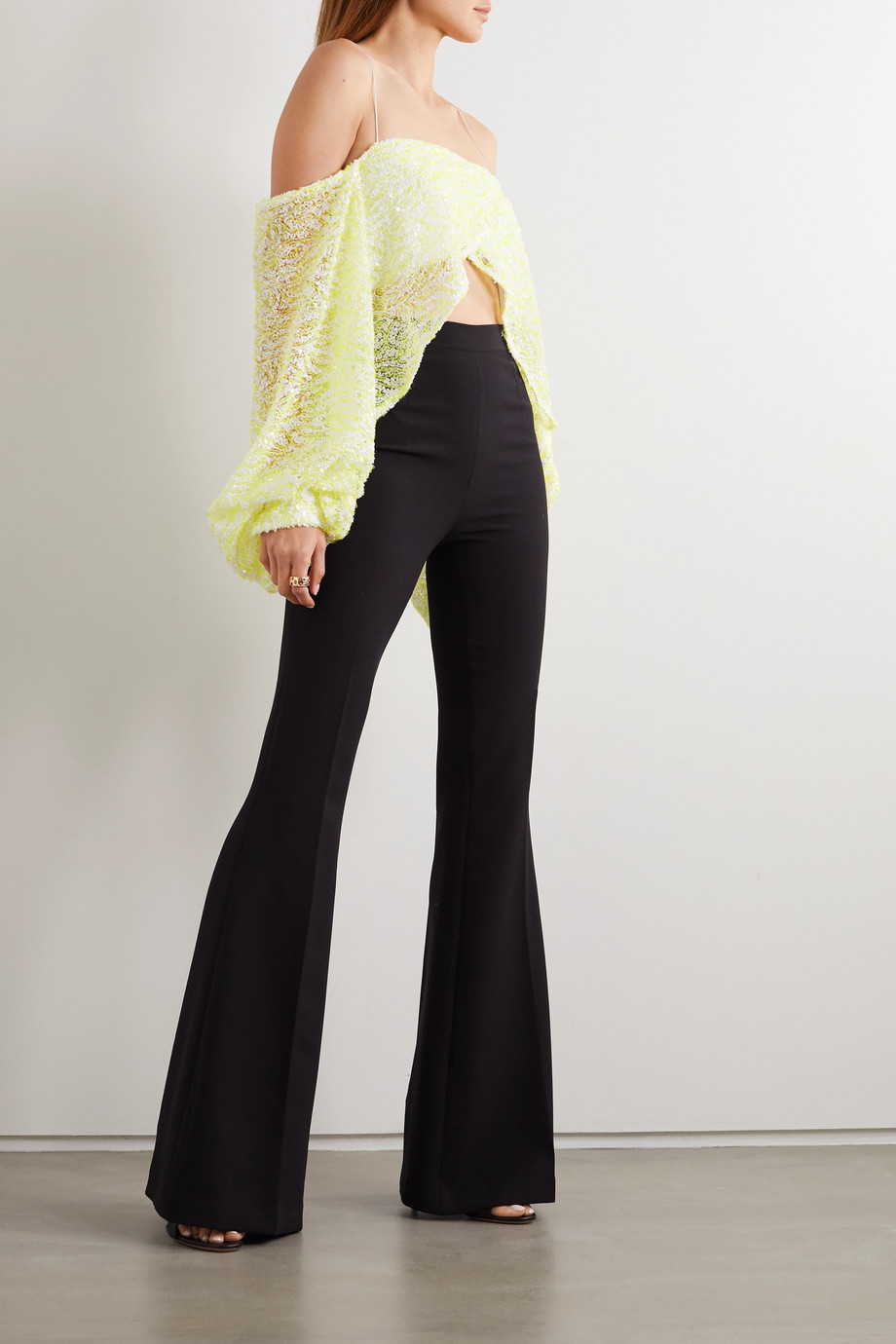 Halpern Off-the-shoulder asymmetric sequined mesh top