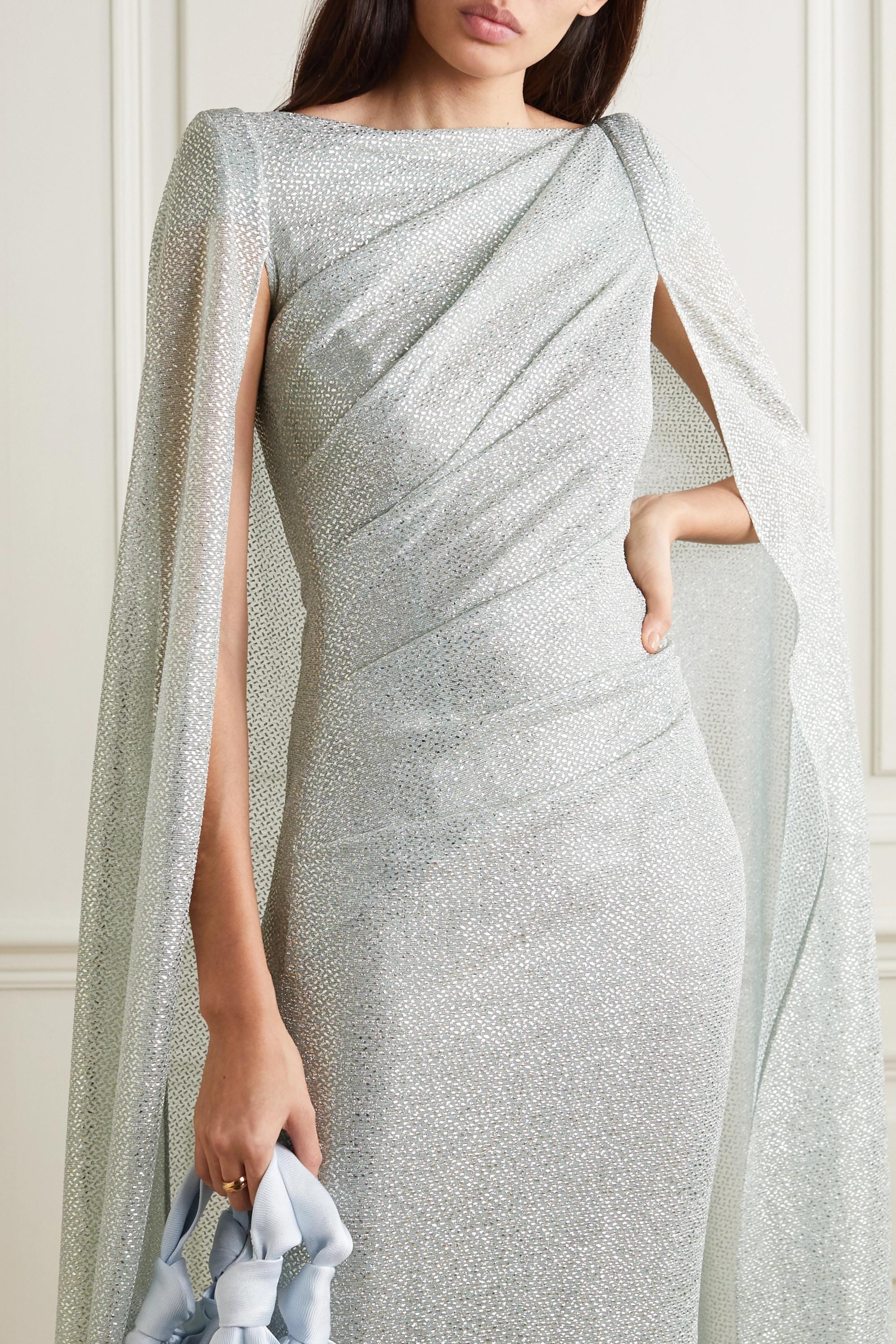 Talbot Runhof Cape-effect ruched metallic voile gown