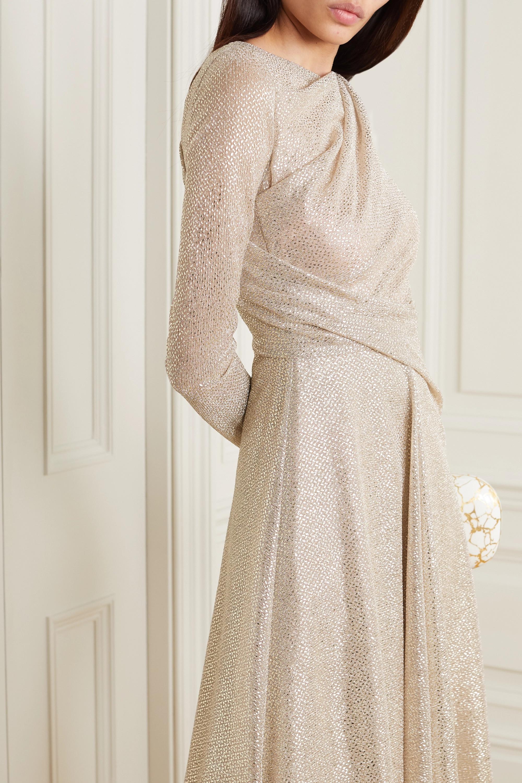 Talbot Runhof Ross ruched metallic voile midi dress