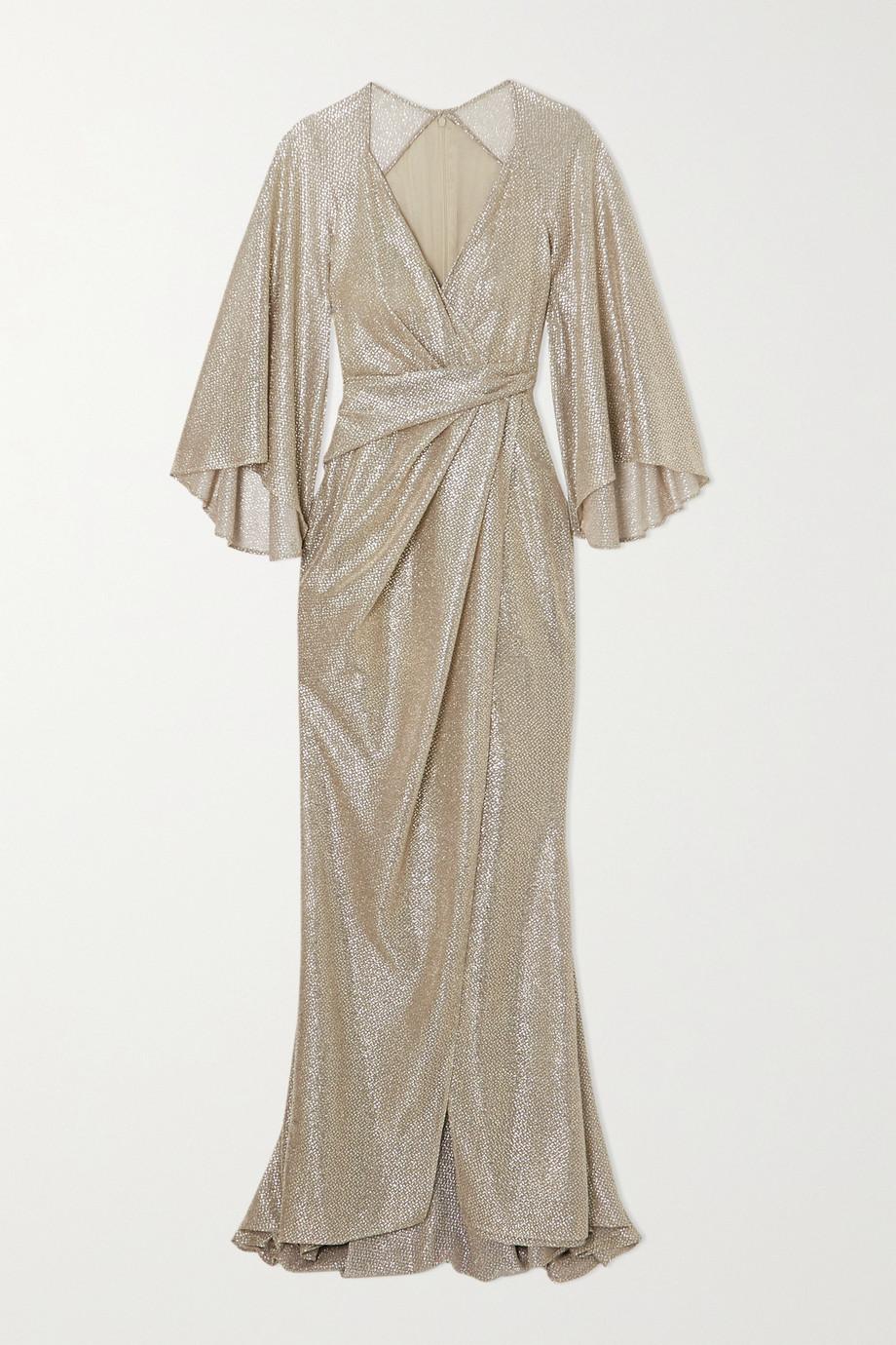 Talbot Runhof Bologne wrap-effect metallic voile gown