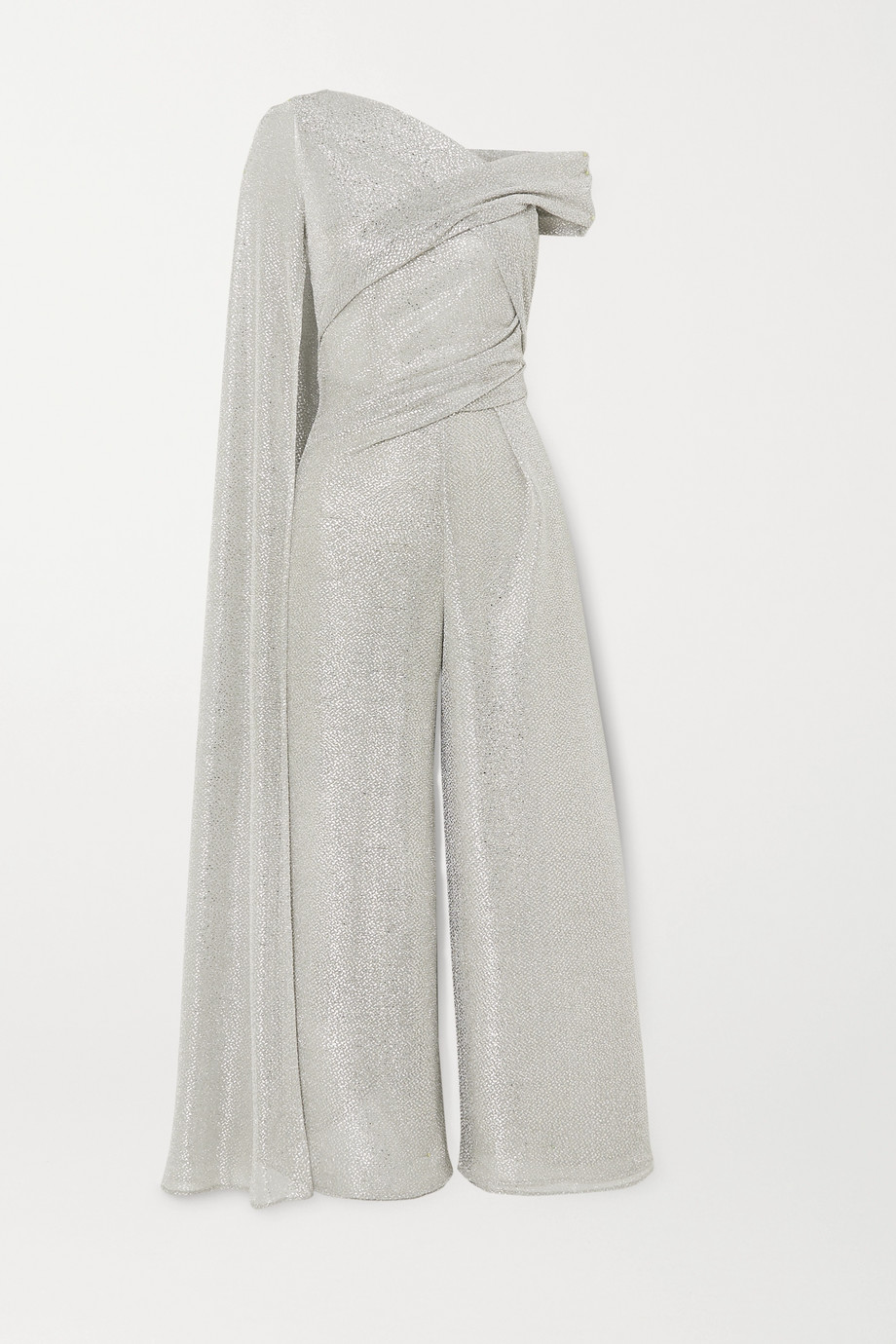 Talbot Runhof Sina draped cape-effect metallic voile jumpsuit