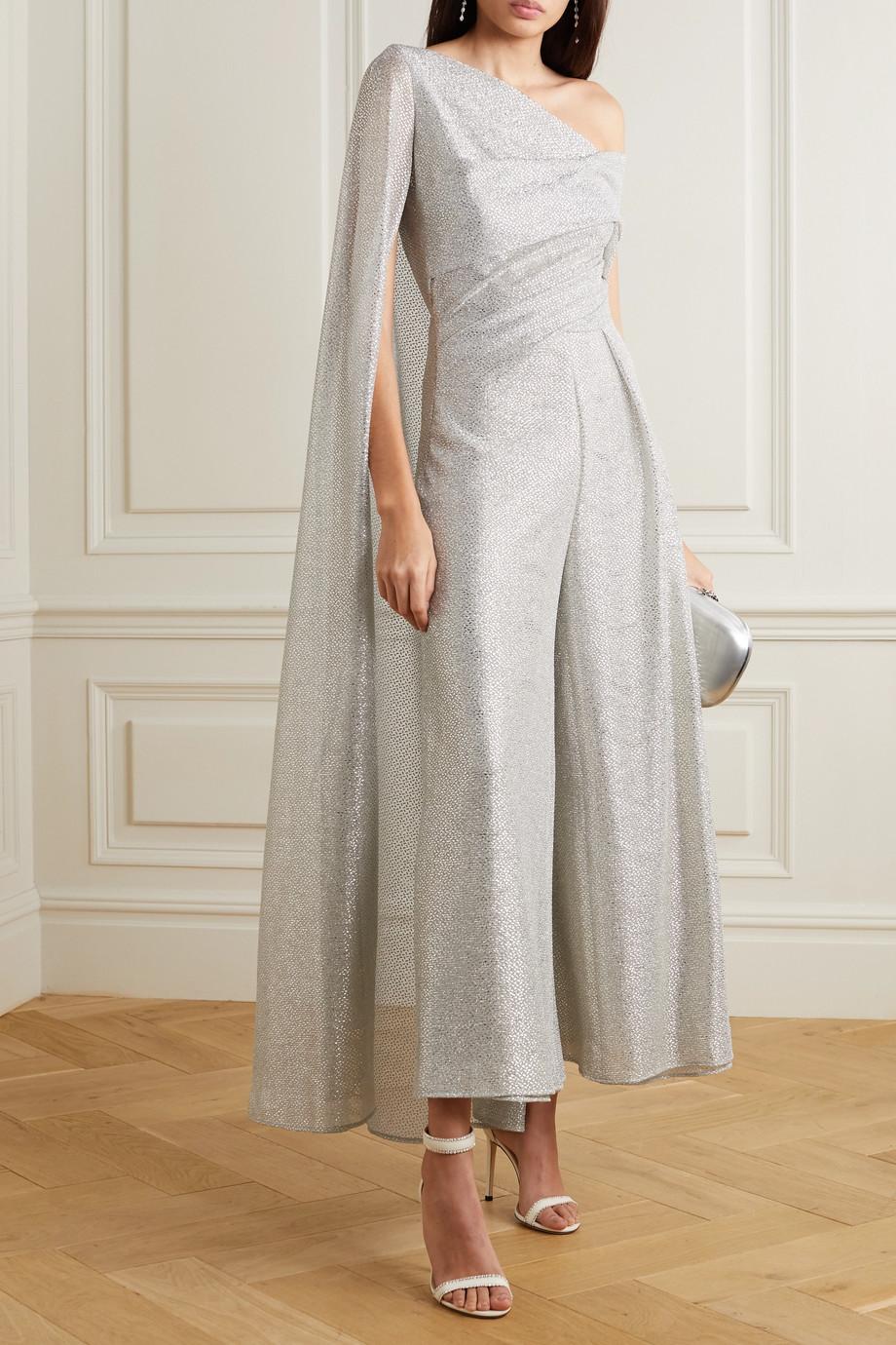 Talbot Runhof Combi-pantalon effet cape en voile métallisé à drapés Sina