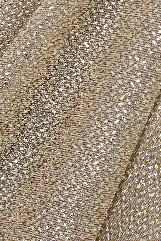 Talbot Runhof Kifty draped metallic voile wide-leg pants