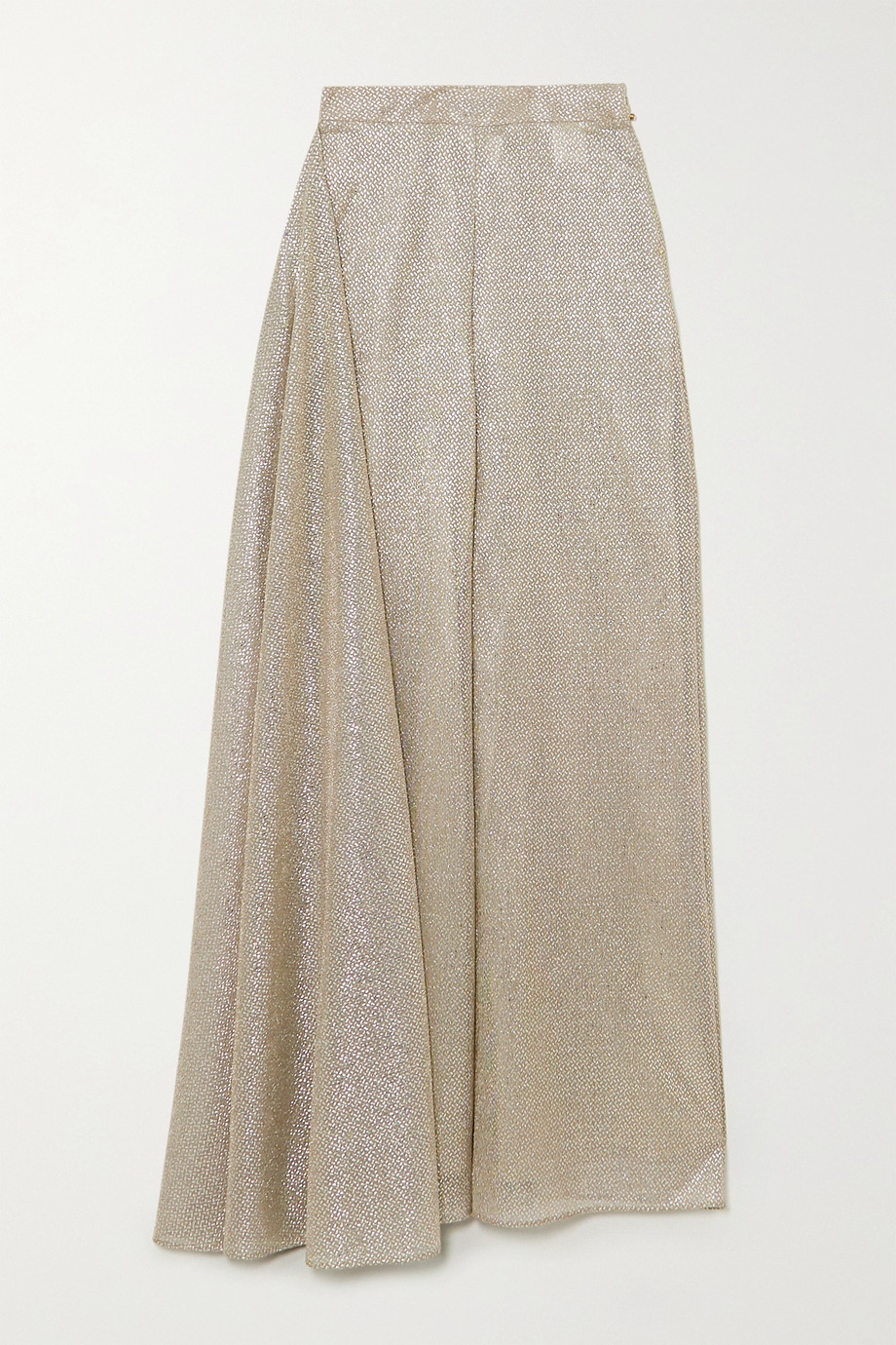 Talbot Runhof Kifty draped metallic voile wide-leg pants
