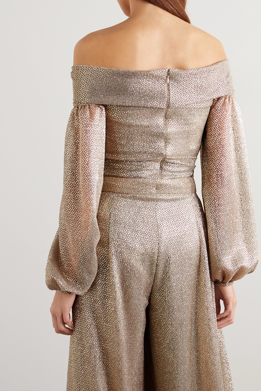 Talbot Runhof Carmella off-the-shoulder metallic voile bodysuit