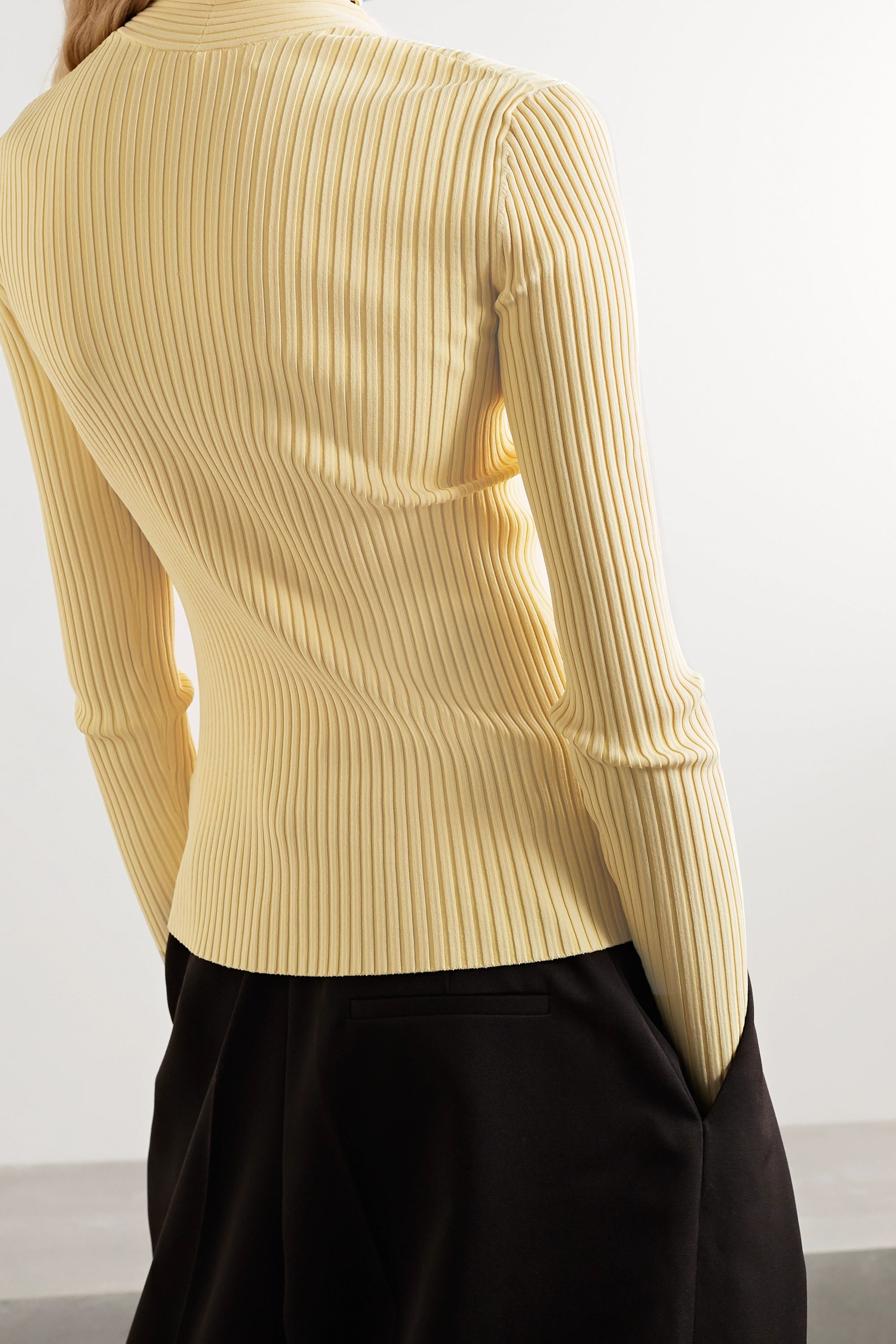 Dion Lee Twist-front ribbed stretch-knit top