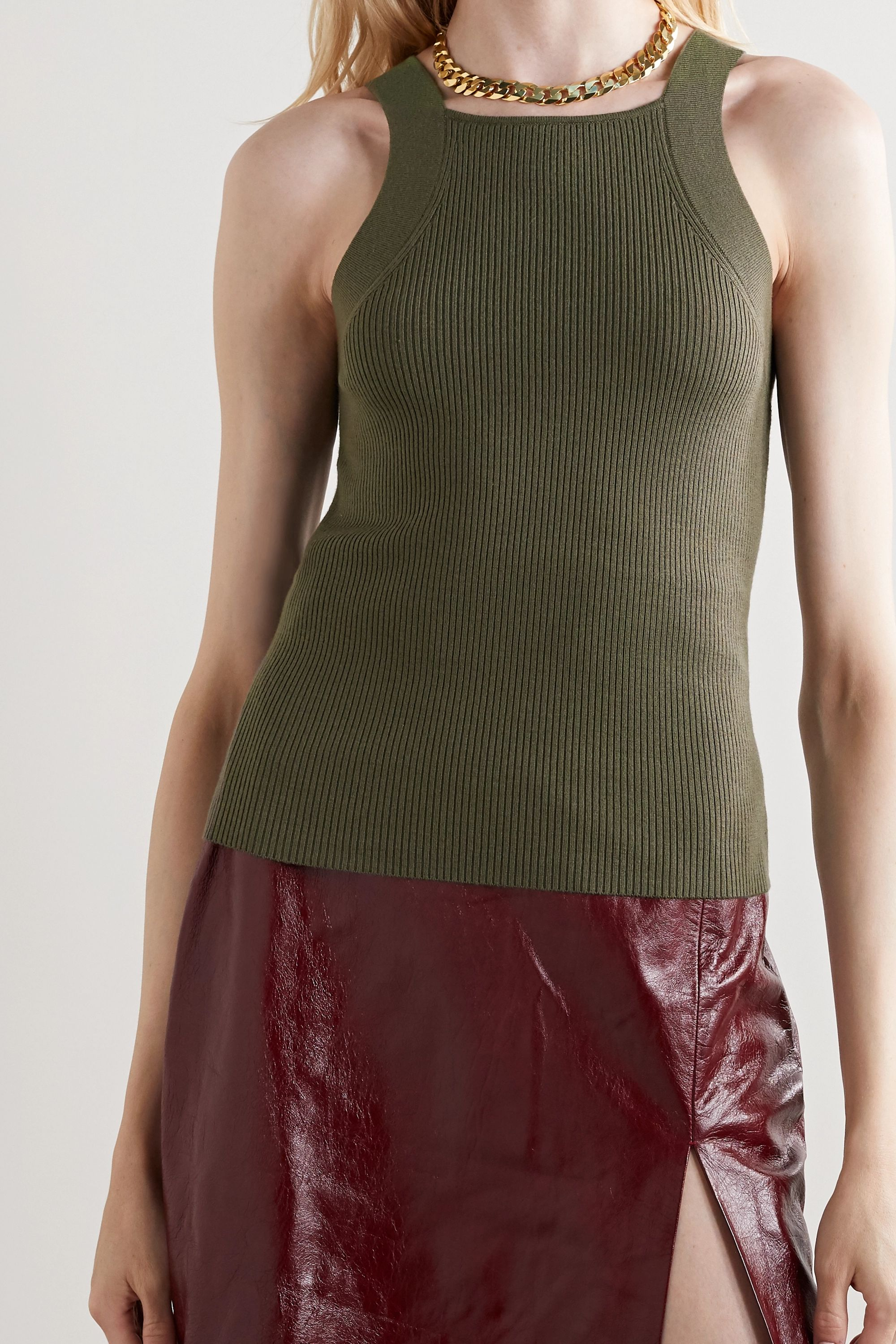 Dion Lee Ribbed merino wool-blend tank and cardigan