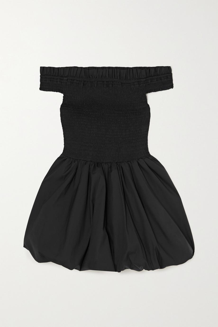 Caroline Constas Lily off-the-shoulder smocked cotton-blend mini dress