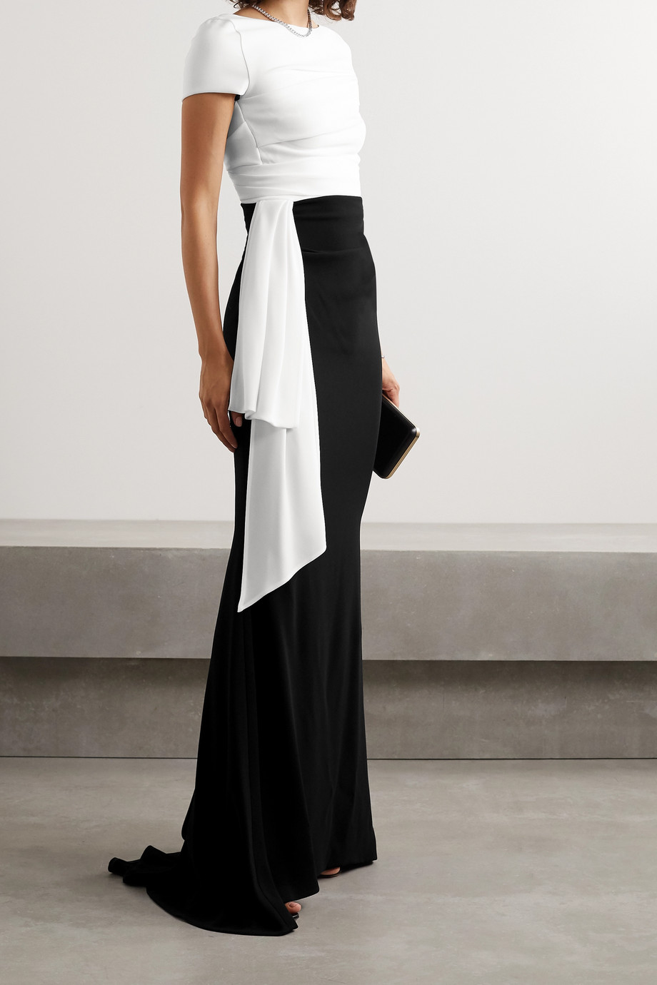 Talbot Runhof Bouvier two-tone draped crepe gown