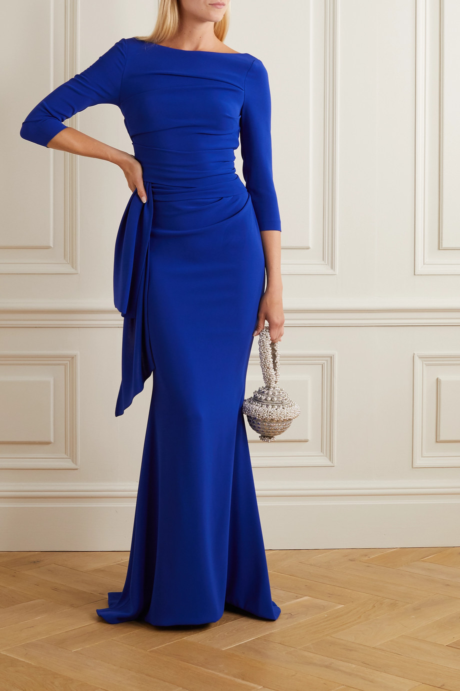 Talbot Runhof Ruched draped crepe gown