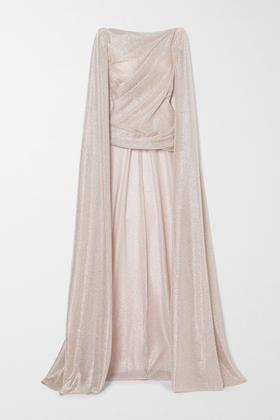 Talbot Runhof Cape-effect draped metallic voile top