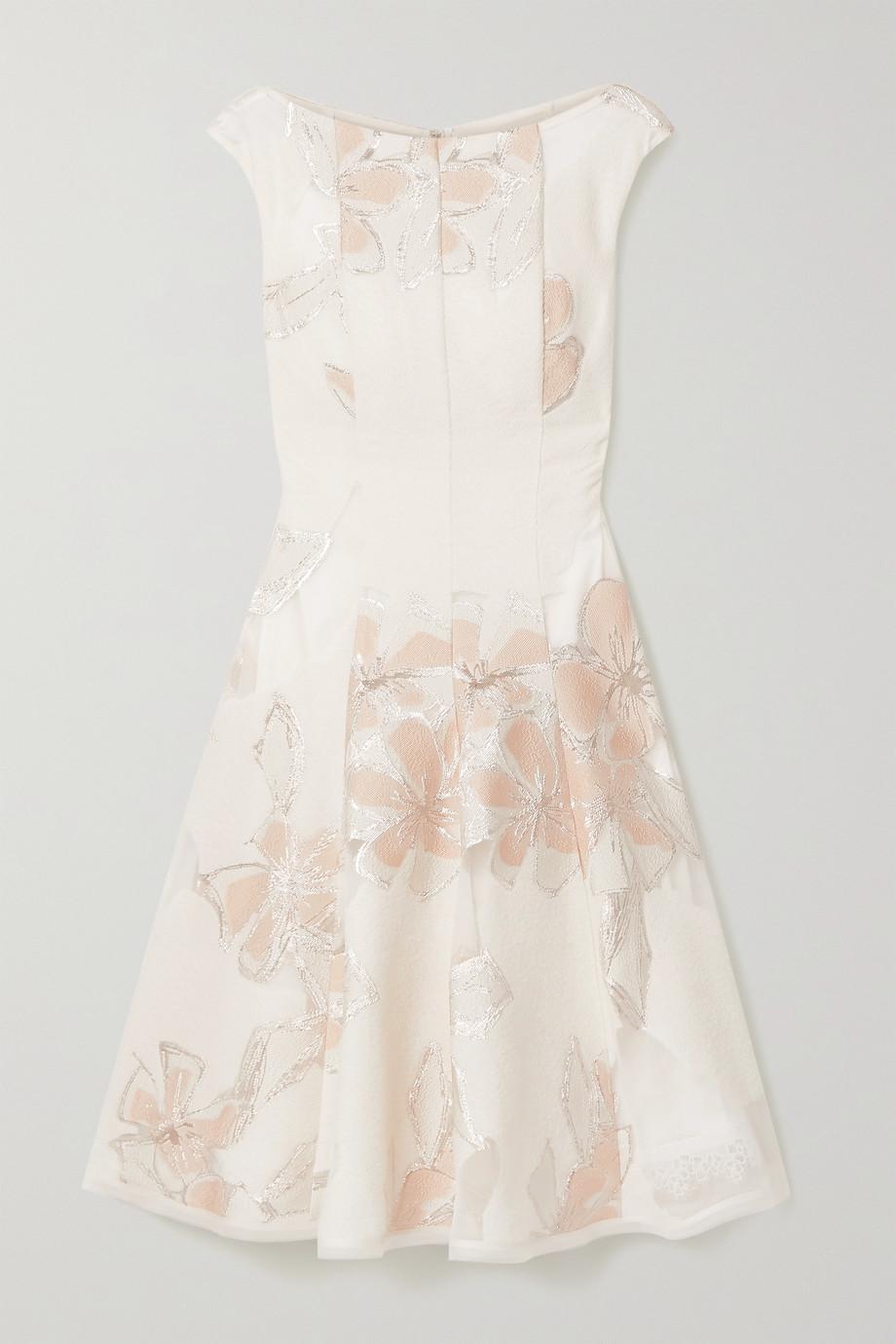 Talbot Runhof Korbut Kleid aus Metallic-Jacquard und Organza mit Blumenmuster