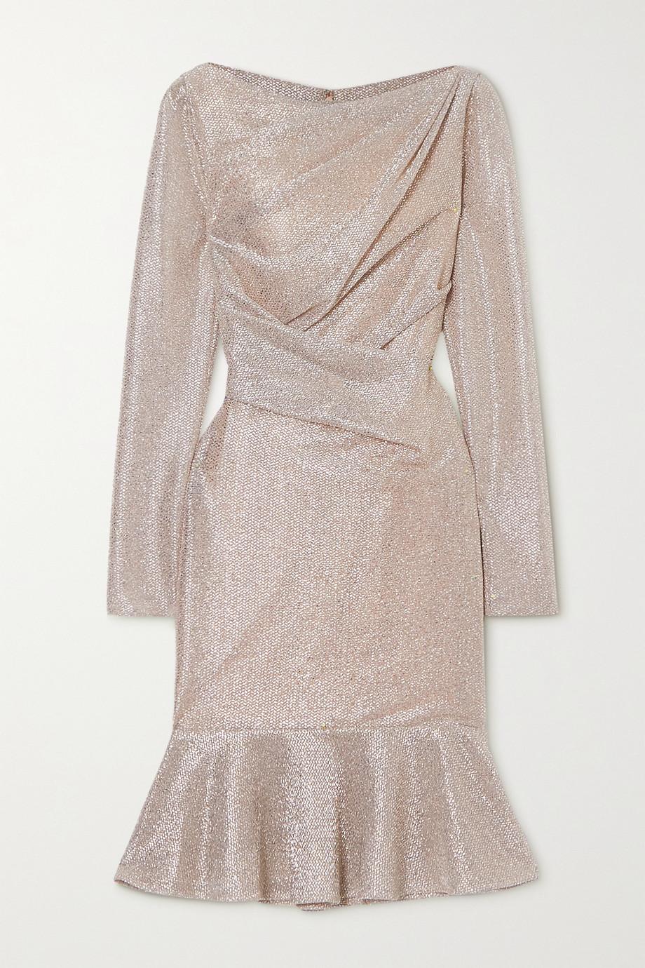 Talbot Runhof Robe en voile métallisé à fronces