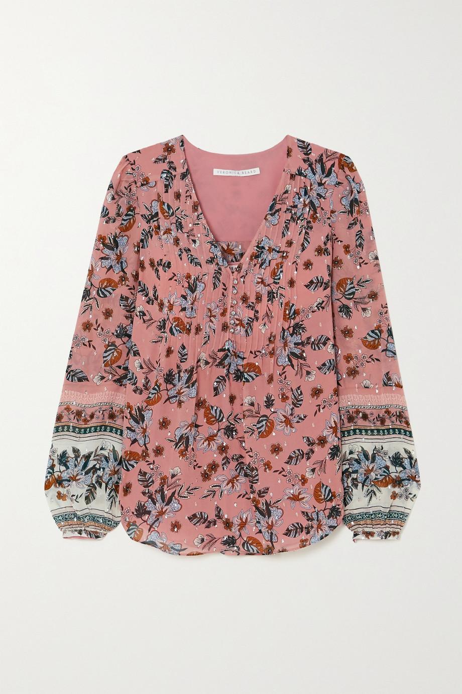 Veronica Beard Lowell floral-print fil coupé silk-blend georgette blouse
