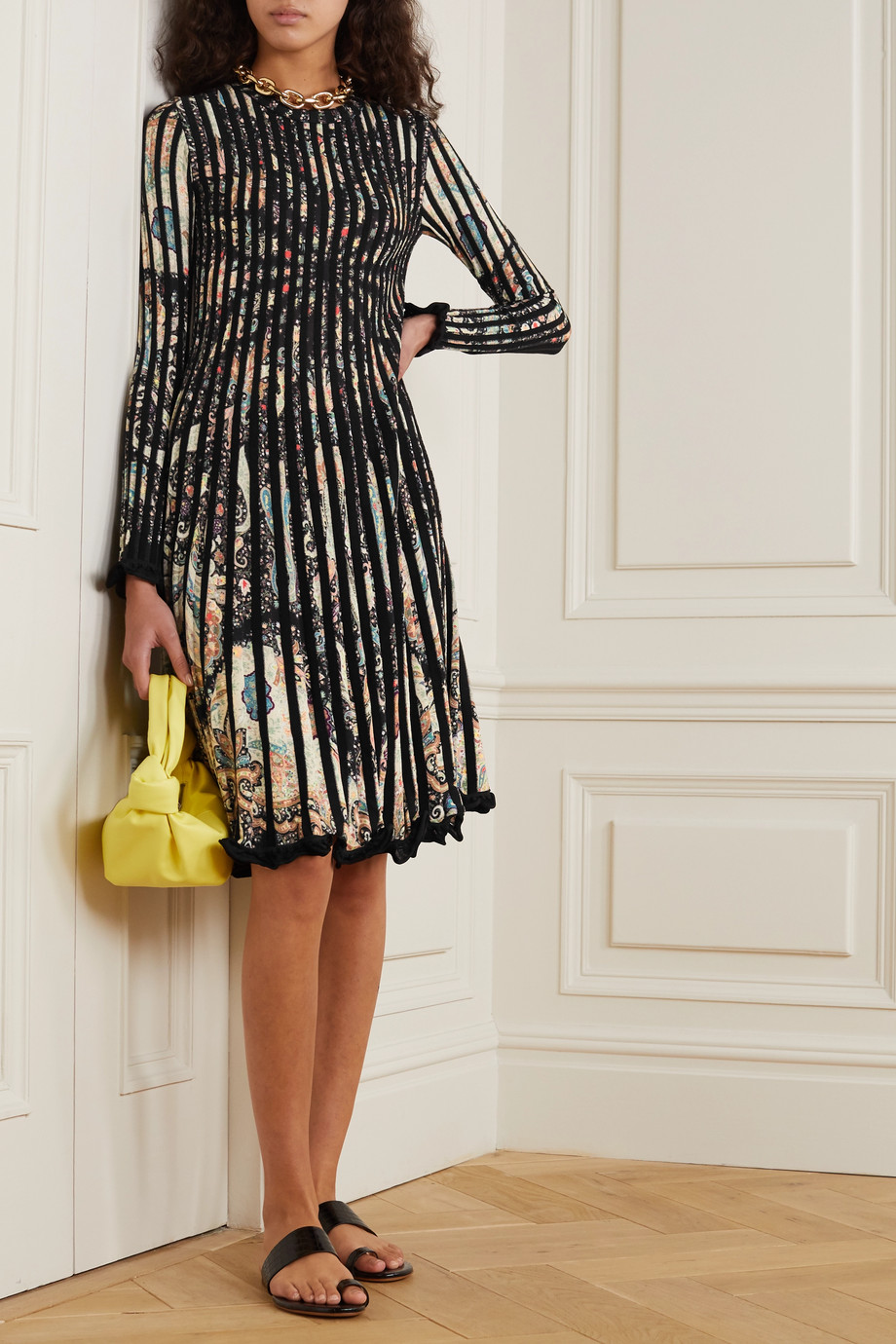Etro Pleated paisley-print stretch-knit dress