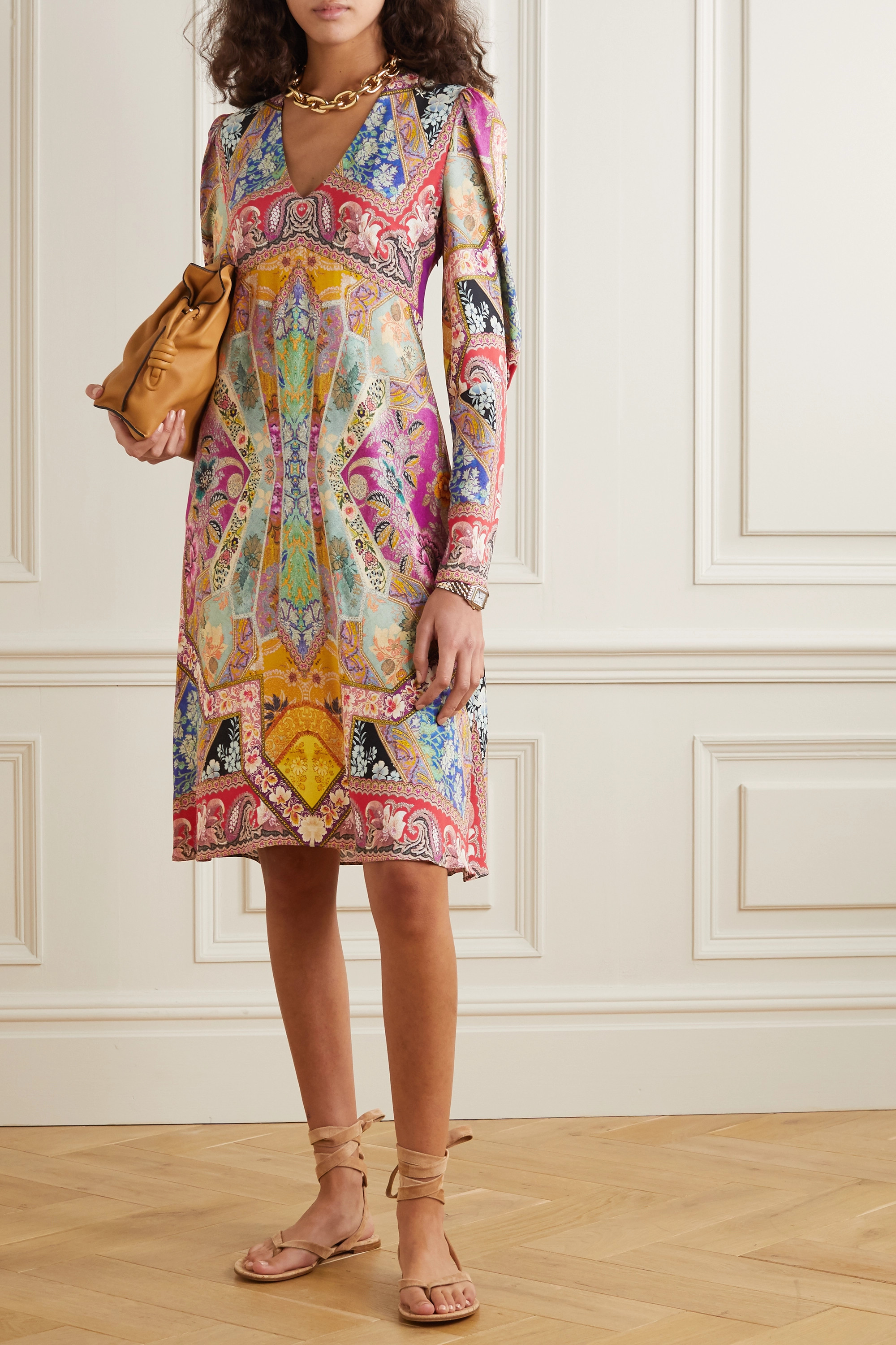 Etro Printed crepe de chine dress