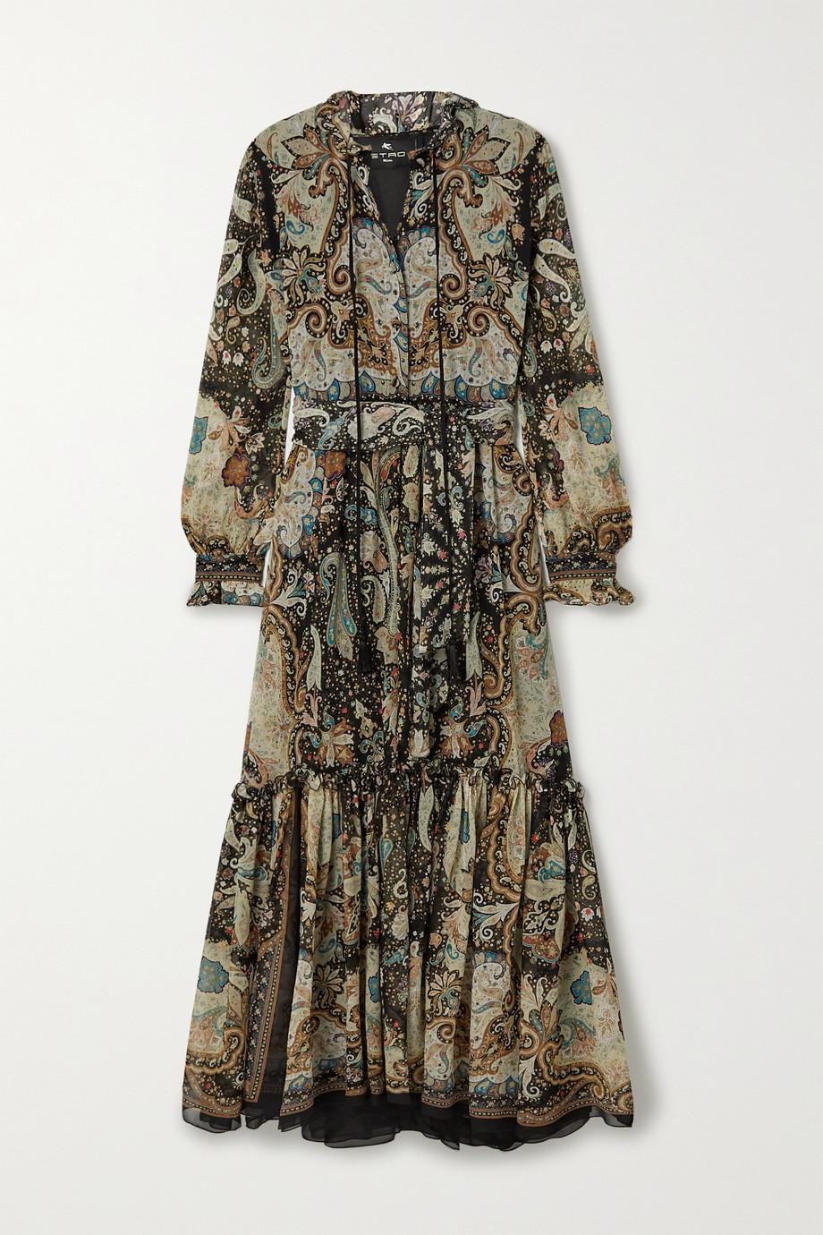 Etro Robe longue en crépon de soie imprimé à houppes