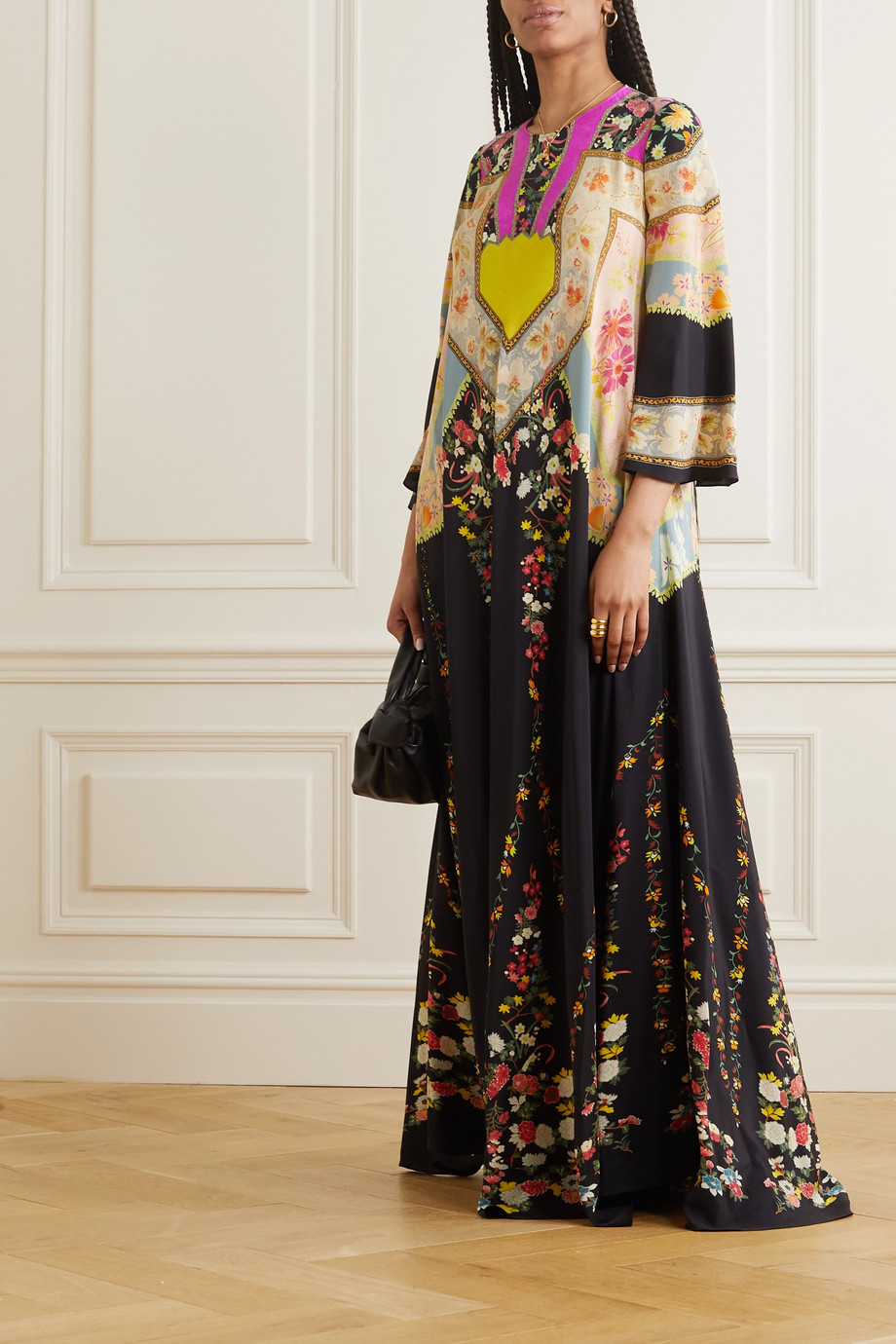 Etro Printed silk-crepon gown