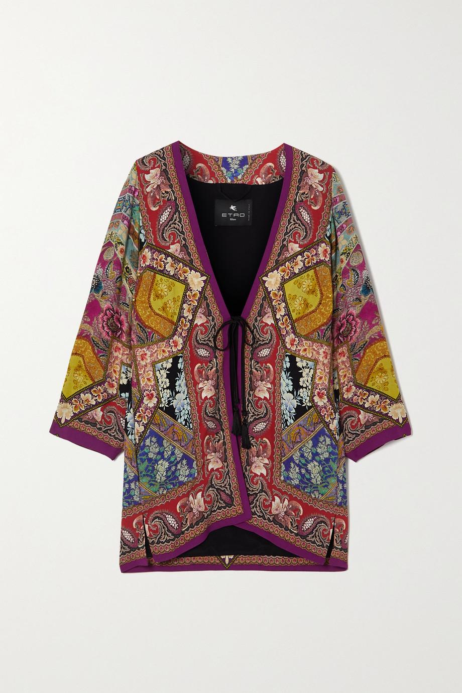 Etro Printed satin kimono jacket
