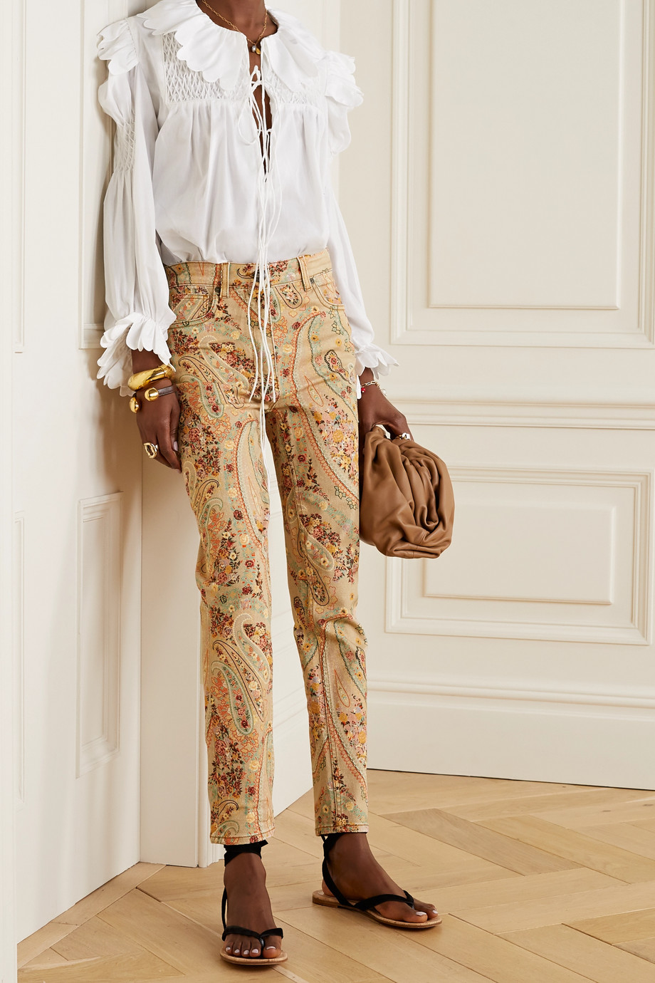 Etro Paisley-print high-rise skinny jeans