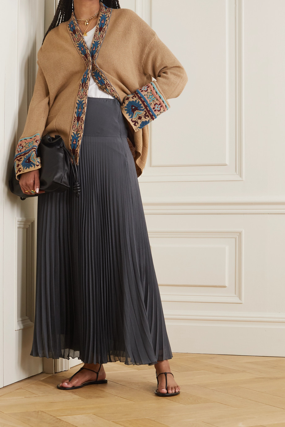 Etro Jacquard-trimmed wool-blend cardigan