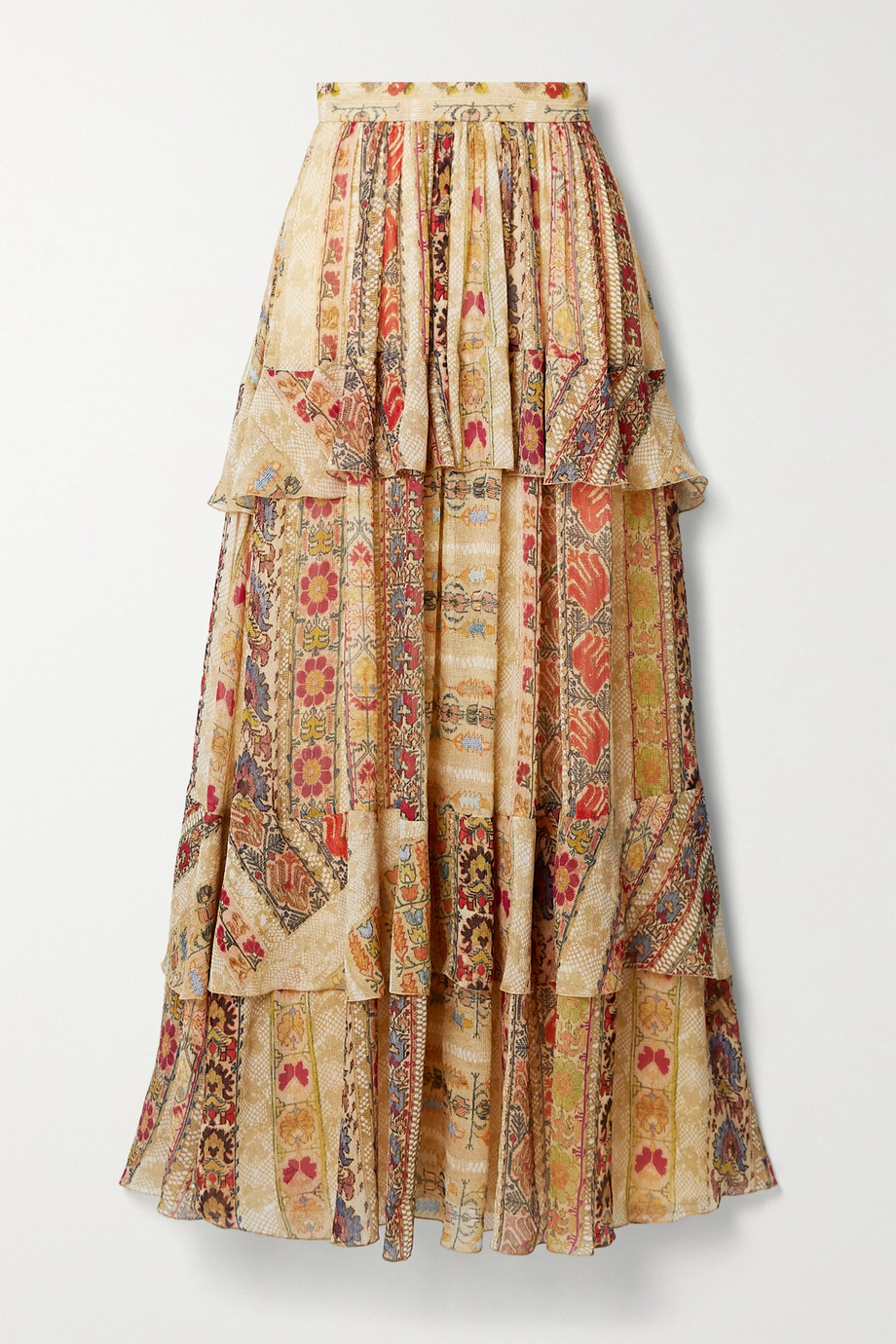 Etro Tiered floral-print silk crepe de chine maxi skirt