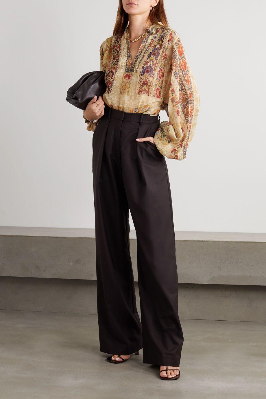 Etro Floral-print silk-crepon blouse
