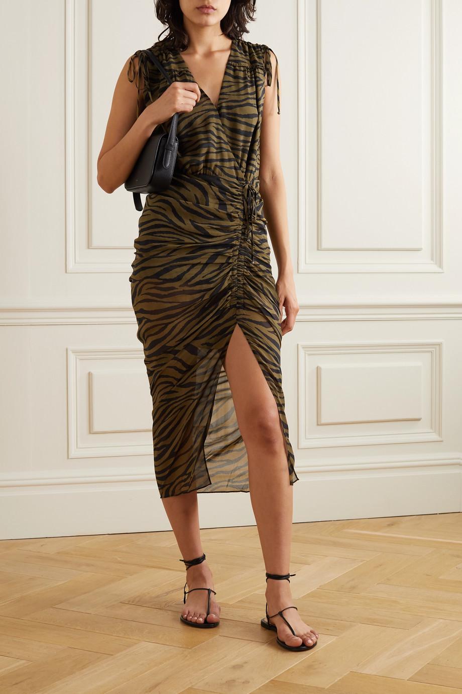 Veronica Beard Teagan wrap-effect ruched zebra-print silk crepe de chine dress