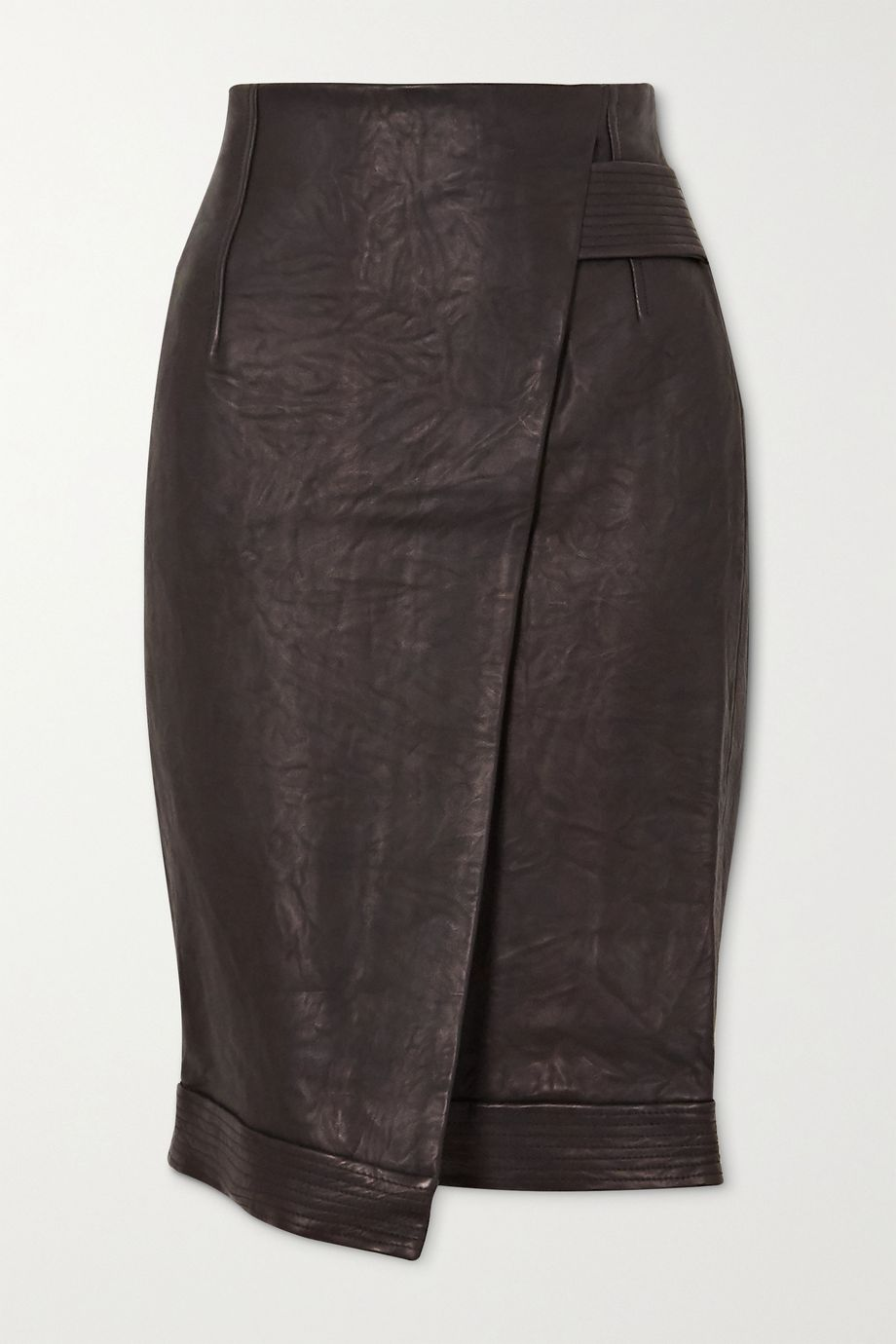 Veronica Beard Delilah asymmetric wrap-effect leather skirt