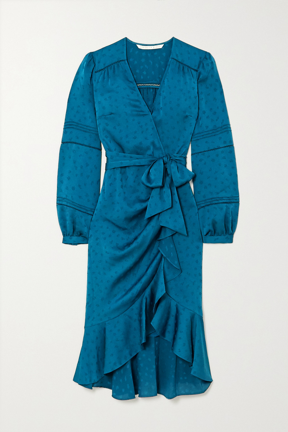 Veronica Beard Miriam ruffled satin-jacquard wrap midi dress
